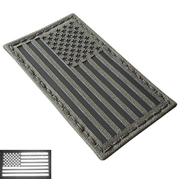 Tactical Freaky Airsoft Morale Patch 4 Olive Drab Green OD Infrared IR USA American Flag 3.5x2 IFF Tactical Morale Hook-and-Loop Patch