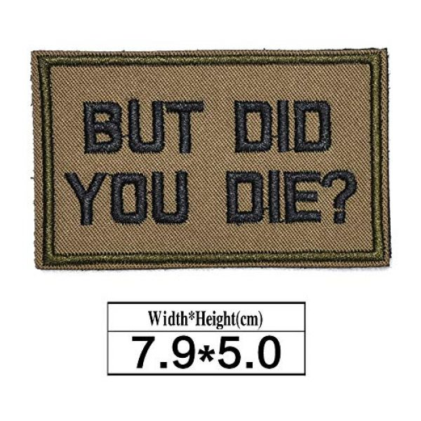 ZHDTW Airsoft Morale Patch 2 ZHDTW Tactical Morale Letter Patches with Hook Loop But Did You Die Decorative Patches for Bags, Backpacks, Clothing (DT046)