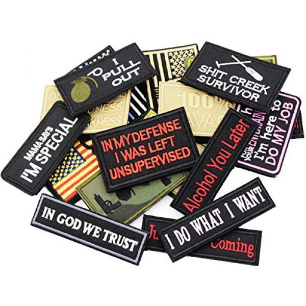 DATOUWEN ACCESSARY Airsoft Morale Patch 4 ZHDTW 18pcs Assorted Tactical Morale Patches for Army Fans Embroidery Patch for Backpack Bags Uniforms with Hook and Loop (DT018)