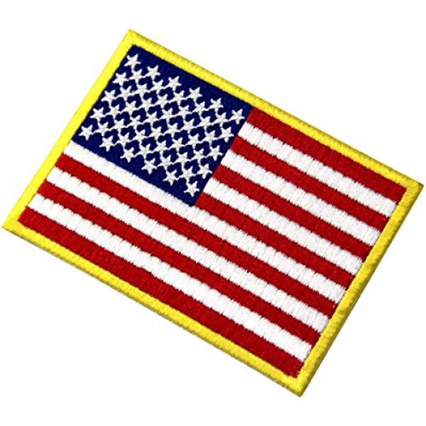EmbTao Airsoft Morale Patch 4 American Flag Patches Embroidered Gold Border USA United States of America Military Uniform Fastener Hook & Loop Emblem