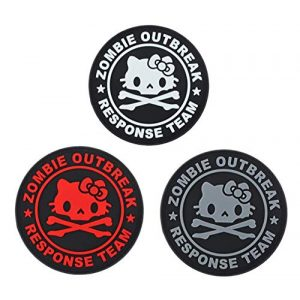 Tactical PVC Patch Airsoft Morale Patch 1 Hello Kitty Zombie Outbreak Response Team PVC Military Tactical Morale Patch Badges Emblem Applique Hook Patches for Clothes Backpack Accessories