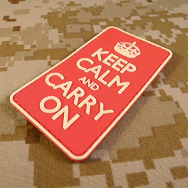 LEGEEON Airsoft Morale Patch 5 LEGEEON Keep Calm Carry On WW2 WWII Morale PVC 3D Hook&Loop Patch