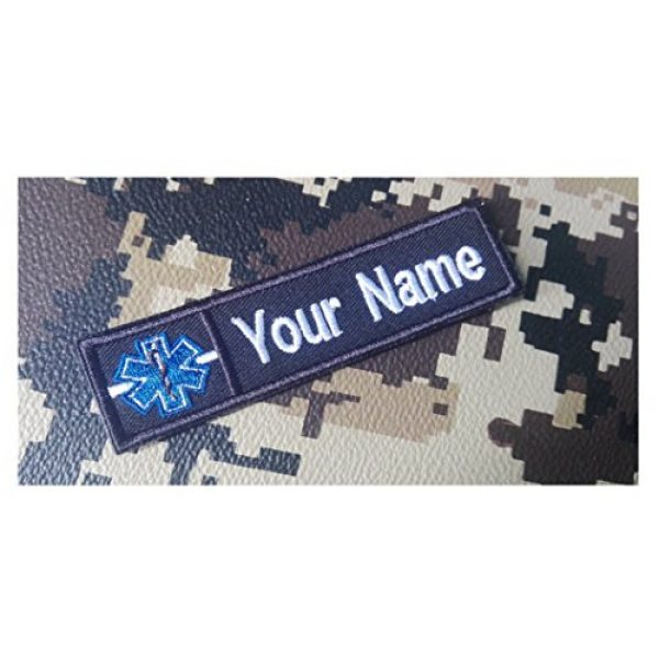 """DREAM ARMY Airsoft Morale Patch 1 Custom Name Text Paramedic Medic EMT EMS White LINE Patch 4""""X1""""(Morale Patch Hook Backing)"""
