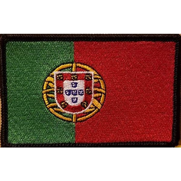 Fast Service Designs Airsoft Morale Patch 1 Portugal Flag Embroidered Patch with Hook & Loop Travel Patriotic Morale Emblem Black Border 3 1/2 X 2 1/4 Inches