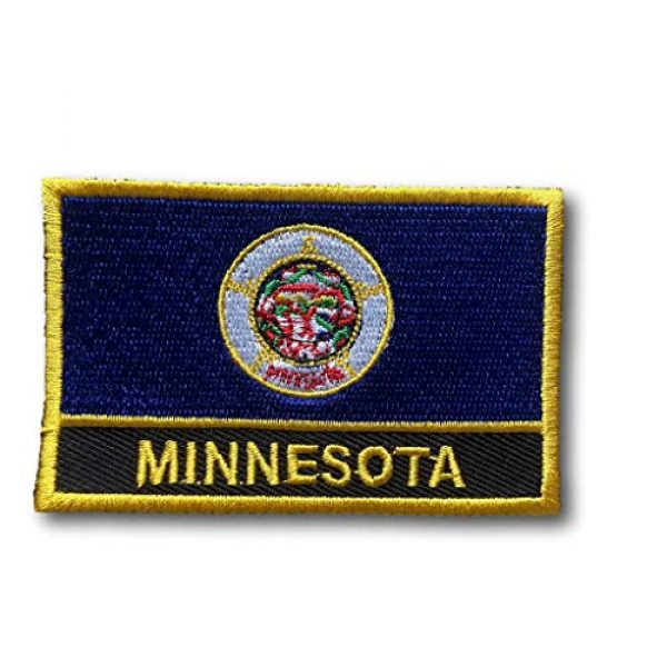 """Backwoods Barnaby Airsoft Morale Patch 1 State Flag of Minnesota Rectangle Iron-On/Sew-On Patch (MN w/Words, 2"""" x 3"""")"""