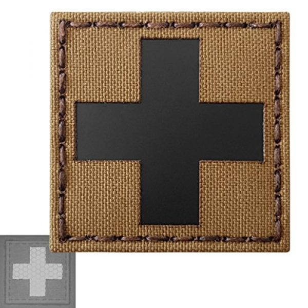 Tactical Freaky Airsoft Morale Patch 3 Red Cross Coyote Brown Tan Infrared IR MED Medical EMS EMT 2x2 Tactical Morale Touch Fastener Patch