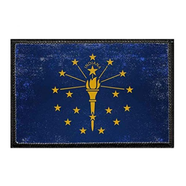 P PULLPATCH Airsoft Morale Patch 1 Indiana State Flag - Color - Distressed Morale Patch   Hook and Loop Attach for Hats, Jeans, Vest, Coat   2x3 in   by Pull Patch