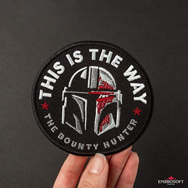 Embrosoft Airsoft Morale Patch 3 Bounty Hunter Round Patch - This is The Way Mandalorian - Star Wars TV Series Morale Emblem - Embroidered Iron On - Size: 3.5 x 3.5 inches