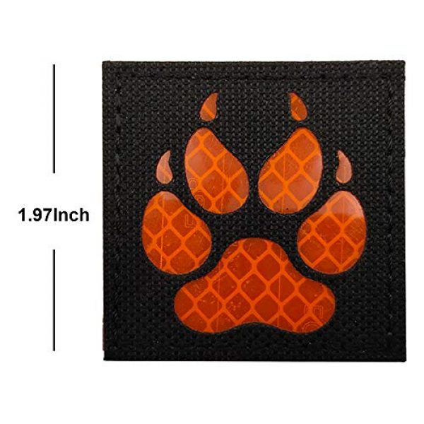 APBVIHL Airsoft Morale Patch 3 Reflective Infrared IR K9 Dog Handler Paw K-9 2x2 Tactical Morale Hook and Loop Fastener Patches