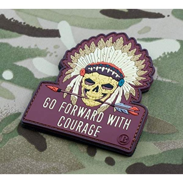 BritKitUSA Airsoft Morale Patch 2 BritKitUSA Go Forward with Courage Morale 3D PVC Patch Chief White Eagle Warrior Skull