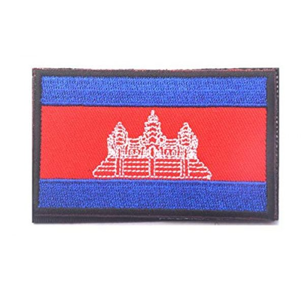 Tactical Embroidery Patch Airsoft Morale Patch 1 Cambodia Flag Embroidery Patch Military Tactical Morale Patch Badges Emblem Applique Hook Patches for Clothes Backpack Accessories