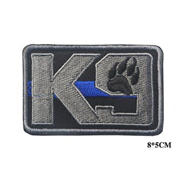 Zhikang68 Airsoft Morale Patch 2 K9 & Crossbone Killer Attack Police Dog Fastener Patch Embroidered Army Swat Morale Hook Loop Backing Tactial Badge Swat for Service Animal Vest (K9 Blue line)