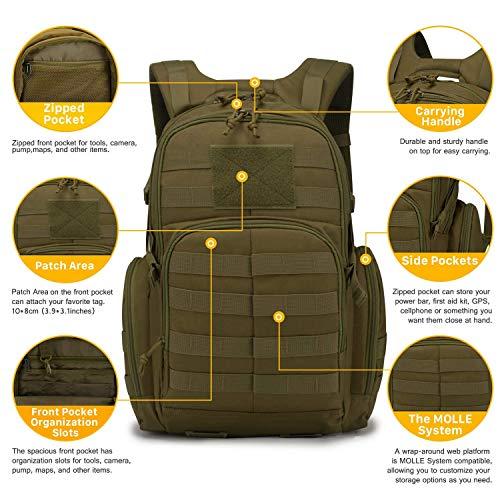 Mardingtop Tactical Backpack 7 Mardingtop Bundle Items: 25L Molle Hiking Tactical Backpack Khaki