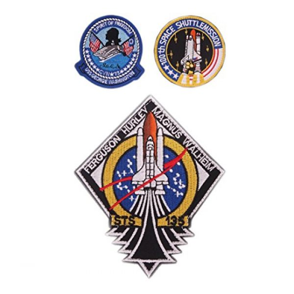 VOZUKO Airsoft Morale Patch 1 VOZUKO Morale Patch USA NASA Astronaut Space 3D Embroidered Flight Space Explorer Research Combination Badge Patch