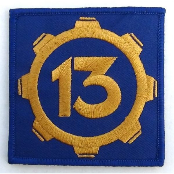 """cosplaypatch Airsoft Morale Patch 1 Vault 13 Fallout Style Patch Cosplay 3""""x3"""" Inches Square Hook and Loop backing"""