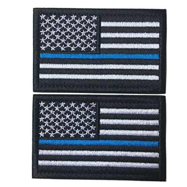 Hng Kiang Hu Airsoft Morale Patch 1 Bundle 2 Pieces-Tactical Police Law Enforcement Thin Blue Line American Flag US United States of America Military Morale Patches (Black-Blue Thin)