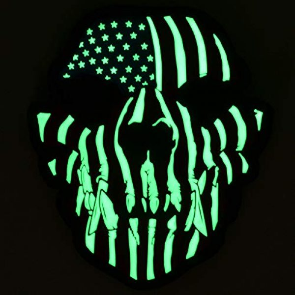 Tactical Gear Junkie Airsoft Morale Patch 2 Glow in The Dark Canine Skull USA Flag - 3x3.5 PVC Patch
