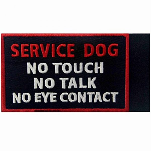 EmbTao Airsoft Morale Patch 5 Service Dog No Touch No Talk No Eye Contact Vests/Harnesses Emblem Embroidered Fastener Hook & Loop Patch