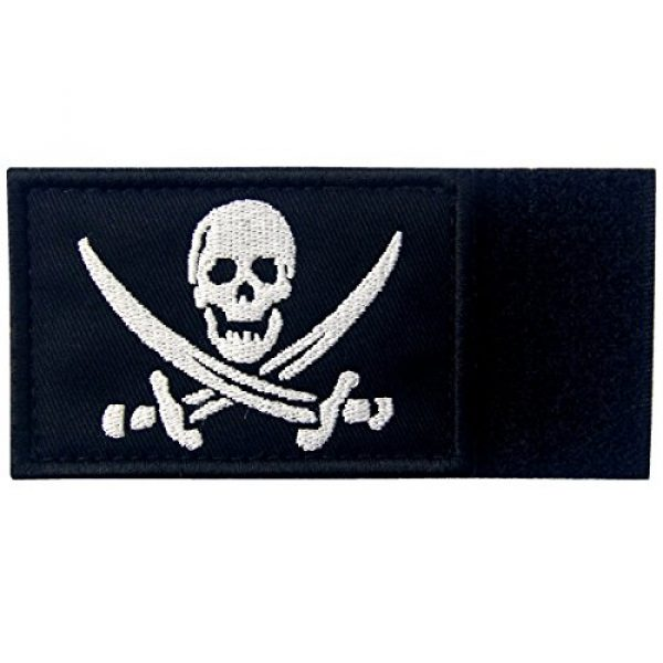 EmbTao Airsoft Morale Patch 5 Pirate Flag Military Morale Fastener Hook & Loop Patch - White & Black