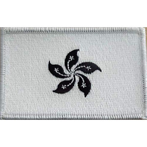 Fast Service Designs Airsoft Morale Patch 2 Hong Kong Flag Embroidered Morale Patch with Hook & Loop Travel Patriotic Shoulder Black & White Version Emblem White Border #8