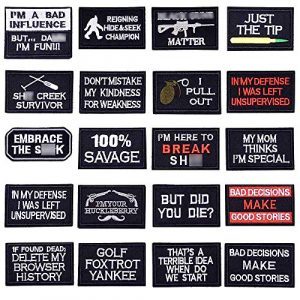 U-Sky Airsoft Morale Patch 1 U-Sky Iron on Patches Pack 20pcs Tactical Morale Letters Patches for Backpacks Embroidered Iron-on Patch Military Army Tactical Patch for Jeans Jackets Sew on Appliques for Clothing