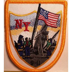 Fast Service Designs Airsoft Morale Patch 1 9/11 Memorial September USA Flag Patch with Hook & Loop Morale Tactical Emblem Gold Border