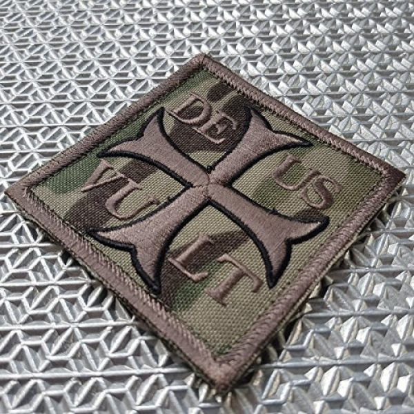 LEGEEON Airsoft Morale Patch 2 LEGEEON Multicam Deus Vult God Wills It Crusader Knight Holy Cross Templar Crusaders Morale Sew Iron on Patch