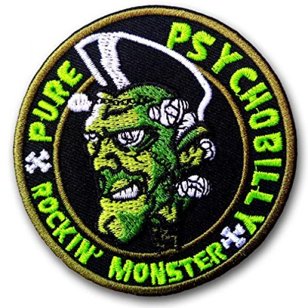Verani Shop Airsoft Morale Patch 3 Verani Psychobilly Rockabilly Rocking Monster Greasers Pomade Back Harley Biker Punk Heavy Metal Hard Rock Tatto Embroidered Iron on Badge Emblem Letter Morale Patch