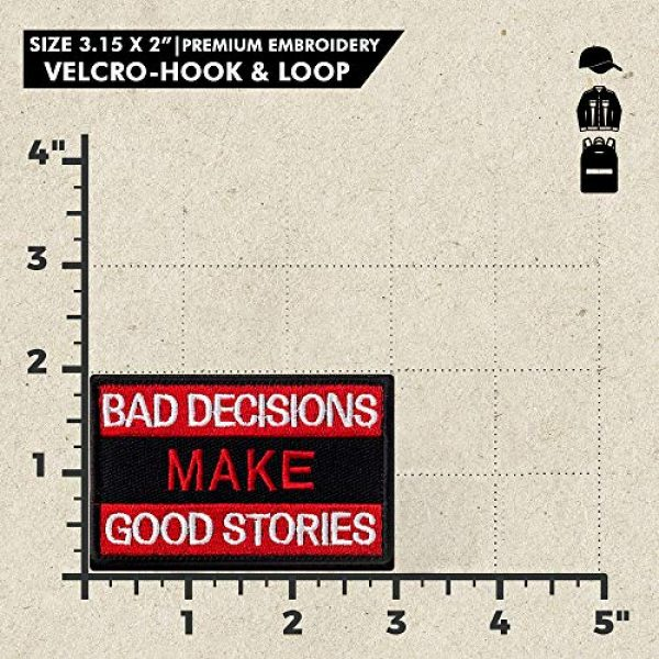 Ebateck Airsoft Morale Patch 2 Ebateck Bad Decisions Make Good Stories Patch, 2 Pack, Embroidered Morale Patches Tactical Funny for Hat Backpack Jackets (Applique Fastener Hook - Loop), Red & Black Color