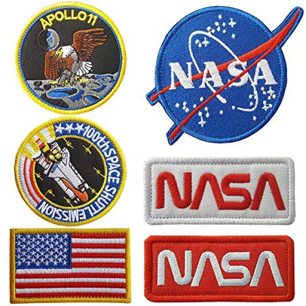 CN11011 Airsoft Morale Patch 1 6 Pieces NASA Patches Hook and Loop Backing Tactical Us Flag NASA Logo 100th Space Shuttle Mission with Sew On Morale Lot Military Embroidered Patches Tactical Flag Patch