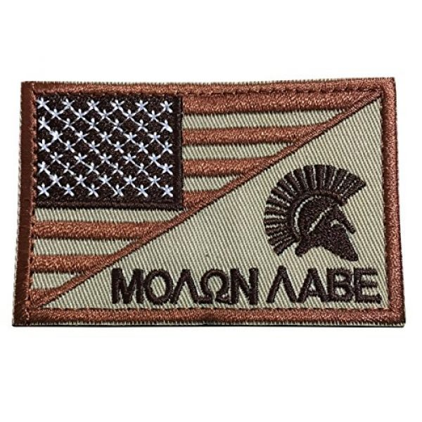 TrendyLuz USA Airsoft Morale Patch 1 TrendyLuz Molon Labe Come and Take It Spartan Head Tactical American USA Flag Patch US Military Embroidered Hook & Loop Patch (Red & Tan)