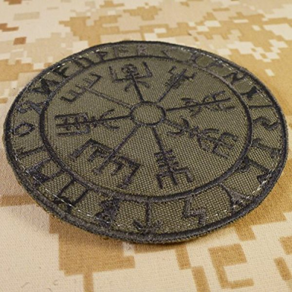 LEGEEON Airsoft Morale Patch 2 LEGEEON Olive Drab Vegvisir Viking Compass OD Green Norse Rune Morale Tactical Sew Iron on Patch