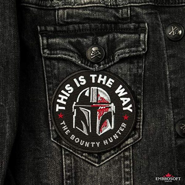 Embrosoft Airsoft Morale Patch 2 Bounty Hunter Round Patch - This is The Way Mandalorian - Star Wars TV Series Morale Emblem - Embroidered Iron On - Size: 3.5 x 3.5 inches