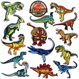 Jacknb Airsoft Morale Patch 1 Dinosaur Iron on Patches Jurassic Park Tactical Embroidered Applique Patches Badge Morale Decoration Sew on Patches for Jacket Jeans Backpacks Hat Clothing (15 Pcs)