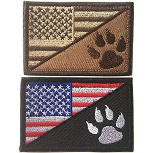 Xunqian Airsoft Morale Patch 1 USA American Flag w/Dog Tracker Paw Embroidered Applique Morale Hook & Loop Patch (Bundle 2pcs red/Brown)