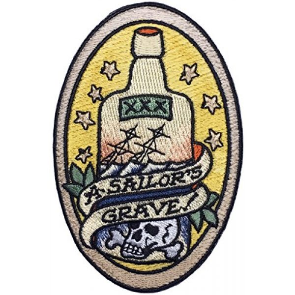 """F-Bomb Morale Gear Airsoft Morale Patch 1 A Sailors Grave"""" Embroidered Morale Patch Based on The Nautical Tattoo"""