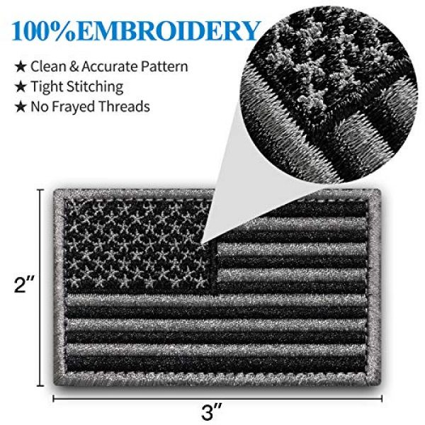 """Anley Airsoft Morale Patch 2 Anley Tactical USA Flag Patches Set - 2 Pack (Forward & Reversed) 2""""x 3"""" Black & Gray American Flag Military Uniform Emblem Patch - Loop & Hook Fasteners Attach to Tactical Hats and Gears"""