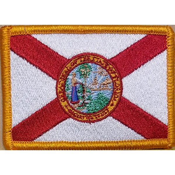 Fast Service Designs Airsoft Morale Patch 1 Florida State Flag Iron-On Embroidered Applique Patch Tactical Morale Travel Emblem Sunshine Version Gold Border