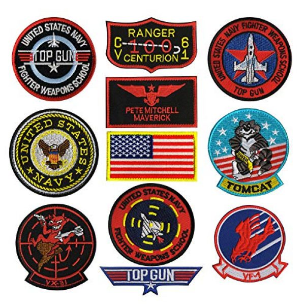 Zhikang68 Airsoft Morale Patch 2 Tomcat Top Gun US Navy Air Force Aviator Embroidered Patch Military Tactical Army Gear Morale Appliques for Hat Operator Baseball Cap Polo Backpack Jacket Shirt DIY Sew On Costume Badge (Tomcat)
