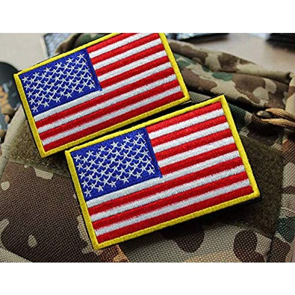 GrayCell Airsoft Morale Patch 4 GrayCell US Flag Dog Embroidered Tactical Morale Patch for Dog Harness & Vest- Set of 2 (US Flag)