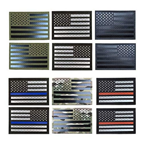 Zhikang68 Airsoft Morale Patch 3 Infrared IR US USA Flag Patch Tactical Military Morale Reflective American Flag Patch Hook and The Loop Fastener Emblem Backing Multicam(Black White (Left))