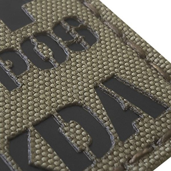 Tactical Freaky Airsoft Morale Patch 6 Ranger Green Infrared IR BPOS NKDA B+ Blood Type 2x2 Tactical Morale Fastener Patch