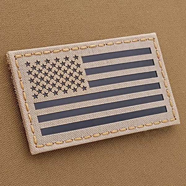 Tactical Freaky Airsoft Morale Patch 1 IR USA American Flag 2x3.5 Desert Sand Tan IFF Tactical Morale Fastener Patch