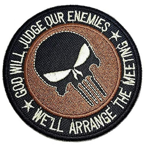 """BR44 Airsoft Morale Patch 1 M0055T 04 Skull""""God Will Judge Our Enemies"""" Military Morale Embroidered Patch Iron or Sew"""