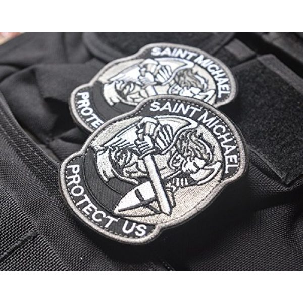 Zhikang68 Airsoft Morale Patch 4 Saint Michael Modern Morale Patch Tactical Military Army Embroidered Sew on Tags Operator Patches with Hook and Loop Fasteners Backing-Multitan
