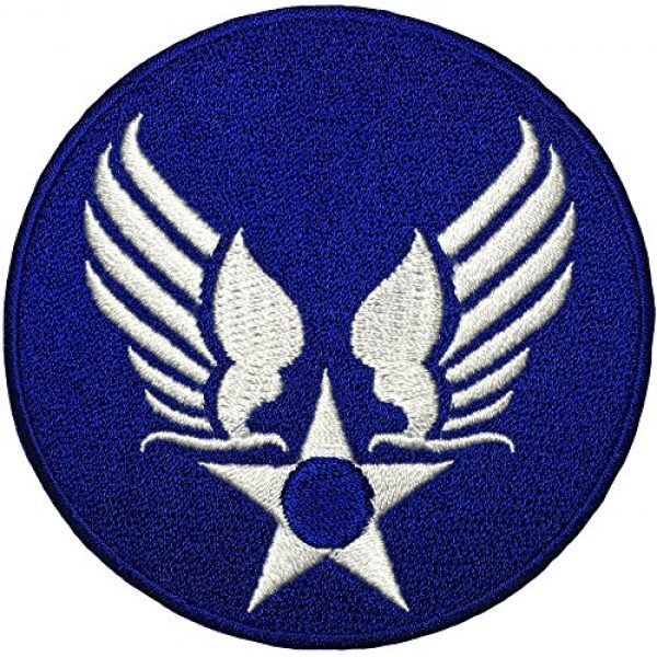 Papapatch Airsoft Morale Patch 1 Papapatch US Air Force USAF Logo Star Wings Army Military Embroidered Sewing on Iron on Patch - Blue (USAF-WING-BL)