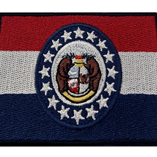 EmbTao Airsoft Morale Patch 2 Missouri State Flag Embroidered Emblem Iron On Sew On MO Patch