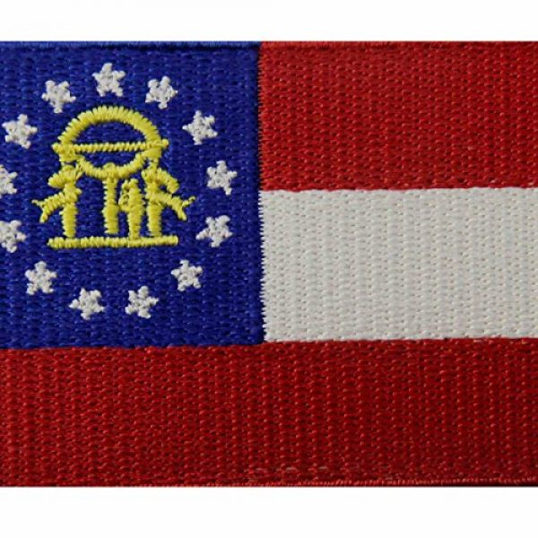EmbTao Airsoft Morale Patch 2 Georgia State Flag Embroidered Emblem Iron On Sew On GA Patch