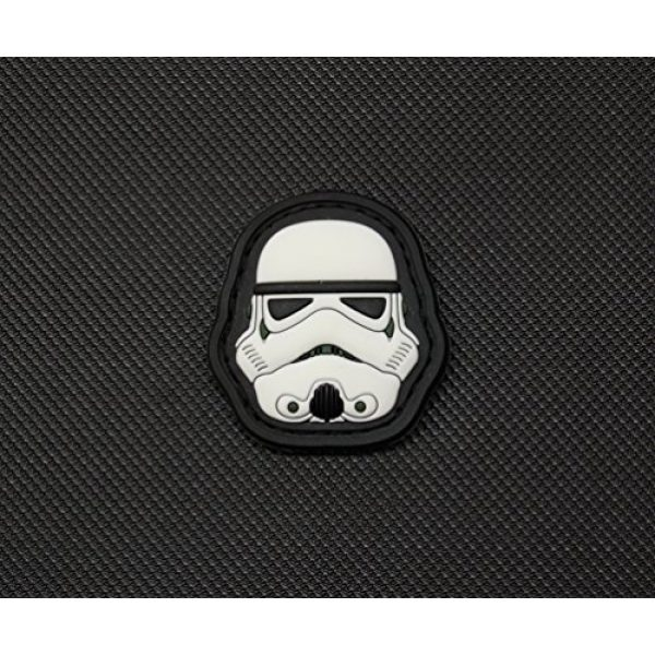 """Empire Tactical USA Airsoft Morale Patch 2 1.5 X 1.5"""" Mini 3d PVC First Order Gitd Glow in the Dark Stormtrooper Helmet Morale hook/loop Patch"""