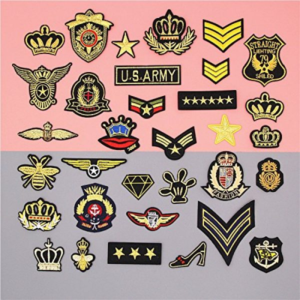Hary Airsoft Morale Patch 6 33Pcs Tactical Embroidered Patches Gold Color Morale Iron on Patches Military Sew on Patch for Decorating Repairing Jackets Shoes Bags Vests Backpacks Jeans Sleeve Caps Clothes Funny Badge Set